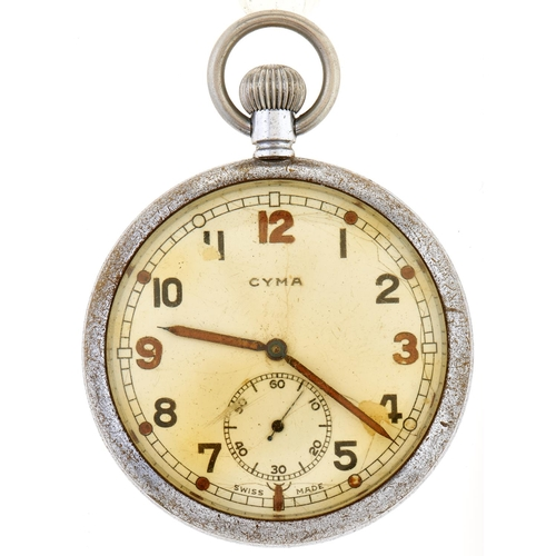 258 - A WWII Cyma British Army issue chrome nickel watch, marked on caseback Broad Arrow G.S.T.P. M58348...