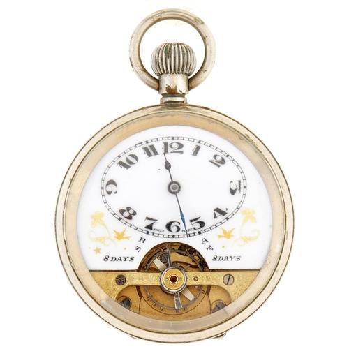 261 - A Swiss nickel plated keyless Hebdomas watch,with enamel dial, in plain case