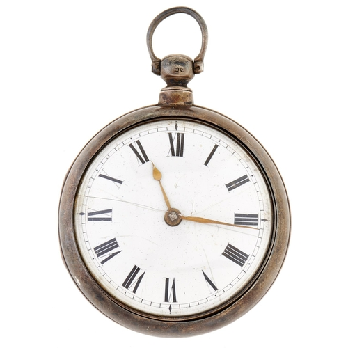 262 - A George IV silver pair cased verge watch, Thos Maston,No 6239, London 1829