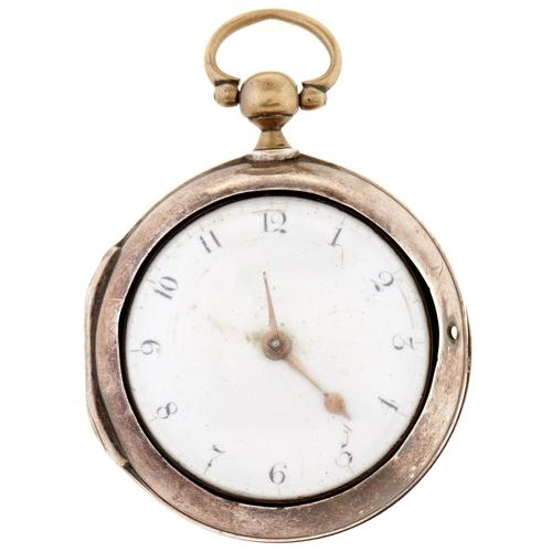 263 - A George III silver pair cased verge watch,Matthew Prior, London 1787, No 7271
