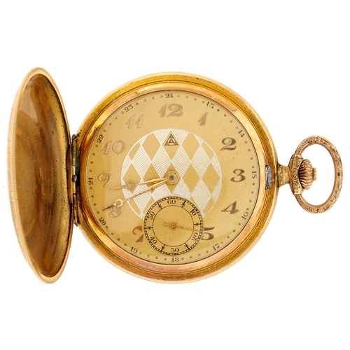 264 - An Alpina gold plated engine turned hunting cased watch, No 70021, case initialled H.S....