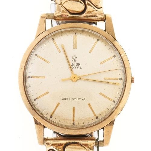 272 - A Rolex Tudor 9ct gold gentleman's wristwatch Royal, associated plated expanding bracelet...