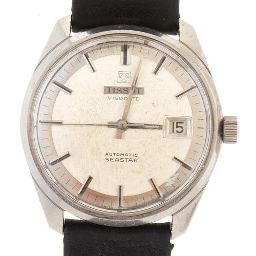 278 - A Tissot stainless steel self-winding gentleman's wristwatch, Visodate Seastar,black leather strap...