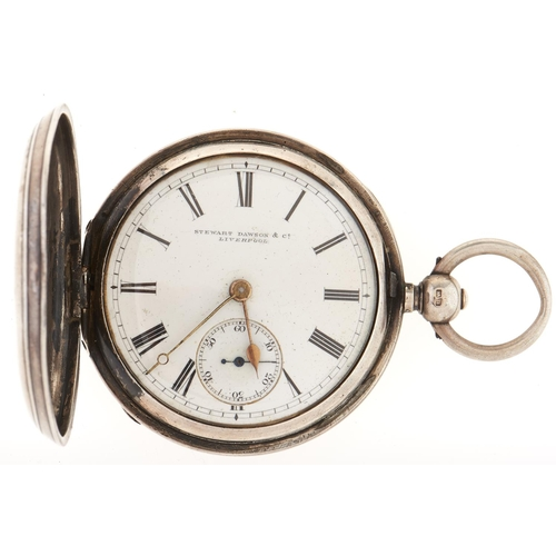282 - A Victorian silver hunting cased lever watch,Stewart Northam & Co Liverpool, Birmingham 1887...