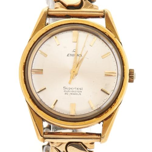 284 - An Enicar gold plated gentleman's wristwatch Supertest Rubyrotor, associated gold plated bracelet...