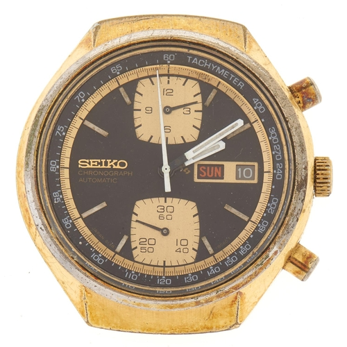 285 - A Seiko gold plated self-winding gentleman's chronograph wristwatch,with day and date...