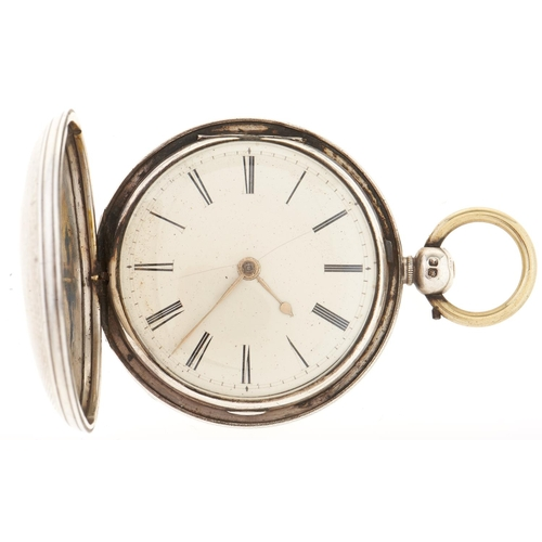 287 - A Victorian silver hunting cased verge watch, unsigned, No 30853, in engine turned case, London 1840...