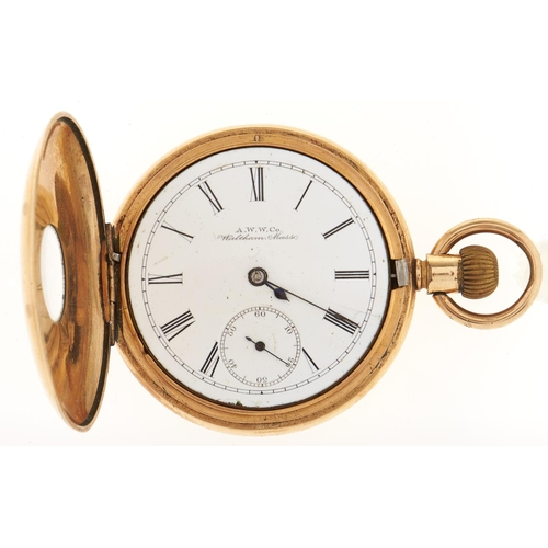 288 - A Waltham gold plated half hunting cased keyless lever watch