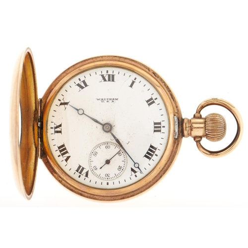 289 - A Waltham gold plated half hunting cased keyless lever watch