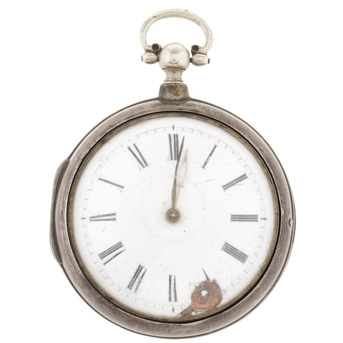 290 - A George III silver pair cased verge watch,unsigned, No 6913, flat centred glass