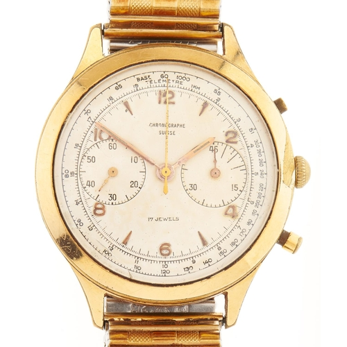 292 - A Swiss gold plated gentleman's chronographe wristwatch, with expanding gold plated bracelet...