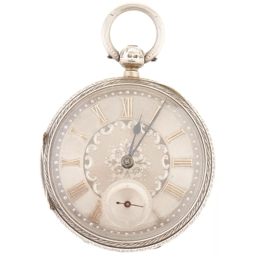 293 - A Victorian silver lever watch,J Eldon & Son, London, No 21699, with silver dial in decorated c...
