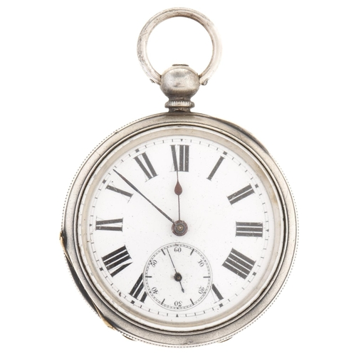 298 - A Swiss silver lever watch, late 19th c,in engine turned case