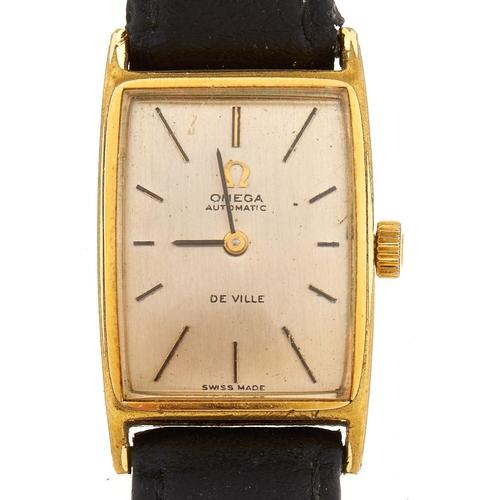300 - An Omega gold plated rectangular lady's wristwatch, De Ville