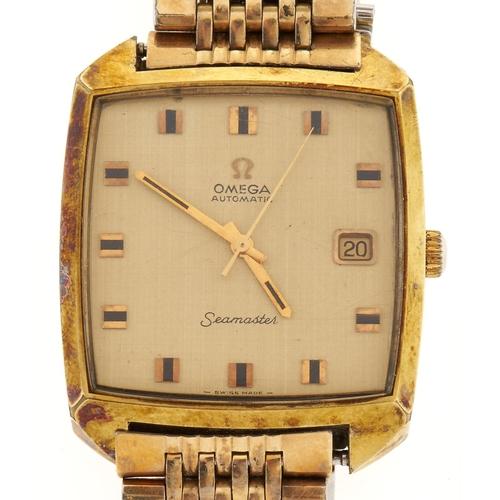 301 - An Omegagold plated cushion shaped self-winding gentleman's wristwatch,Seamaster, maker's bracelet...