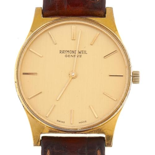 303 - A Raymond Weil gold plated gentleman's wristwatch, mechanical movement, gilt dial