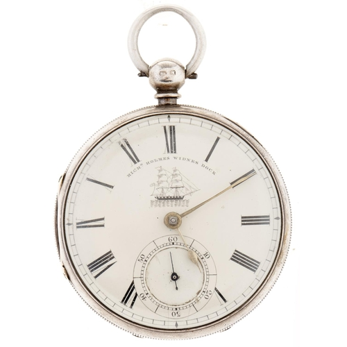304 - Maritime Interest. A Victorian silver lever watch,Richard Holmes, Widnes Dock, No 51365, the dial f...