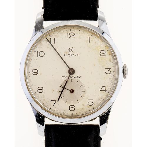 305 - A Cyma stainless steel gentleman's wristwatch,Cymaflex,maker's box and booklet