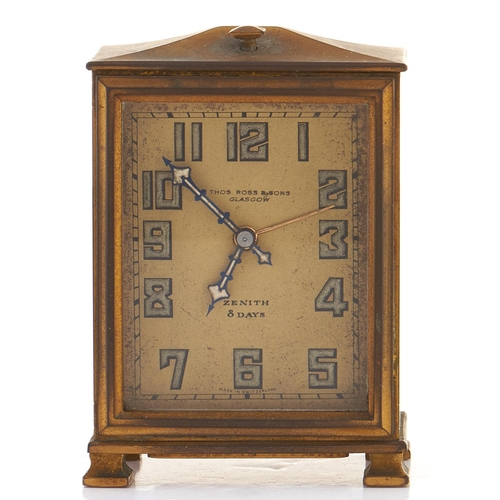 309 - A Zenith eight day giltmetal alarm clock, No 7544, c1930, pagoda top, Arabic numerals, retailed by T...