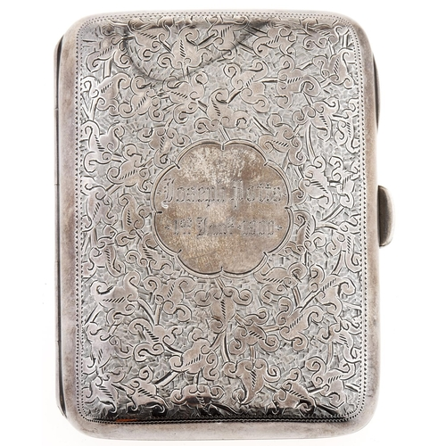 316 - A Victorian silver cigarette case, foliate engraved overall, the front with named cartouche and date...