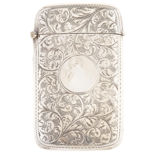 318 - A George V silver card case, foliate engraved overall with circular cartouche, Birmingham 1912, 1.2 ...