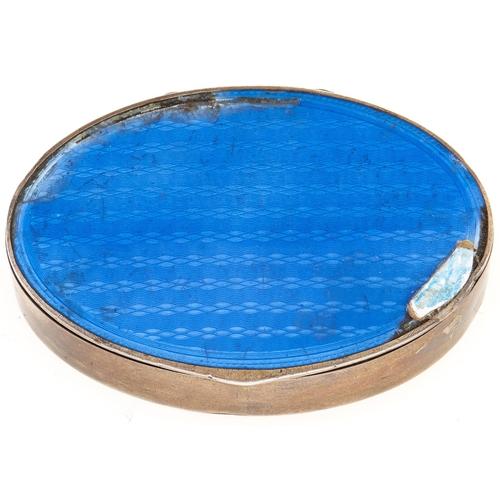 344 - A Scandinavian oval silver and blue guilloche enamel box, 60mm l, import marked, Sheffield 1935, 1oz...