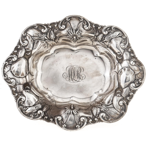 351 - A North American embossed silver sweetmeat dish, by the Shreeve, Crump & Low Co, c1910,18cm l, ...