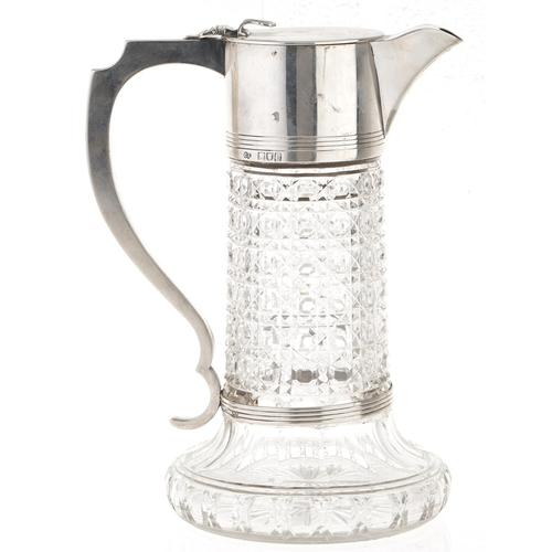 357 - A Victorian silver mounted cut glass claret jug, hob nail cut body, spreading base, by Charles Boyto...