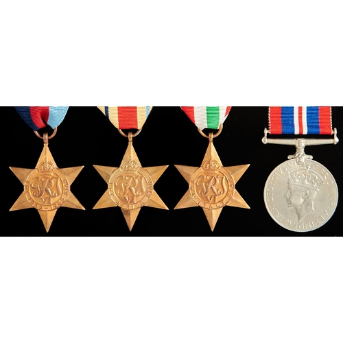 359 - World War II attributed group of four, 1939-1945 Star, Africa Star, Italy Star and War Medal, enclos...