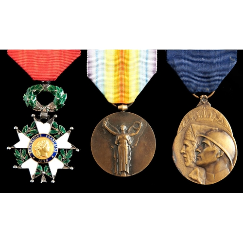 360 - France, two Légion d'Honneur knight's badge and Victory Medal and Belgium, Volunteer's Medal (3)...