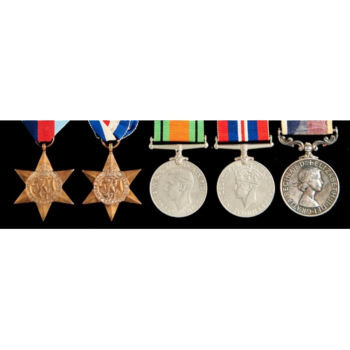 365 - World War II group of five, 1939-1945 Star, France and Germany Star, Defence Medal, War Medal and Ro...