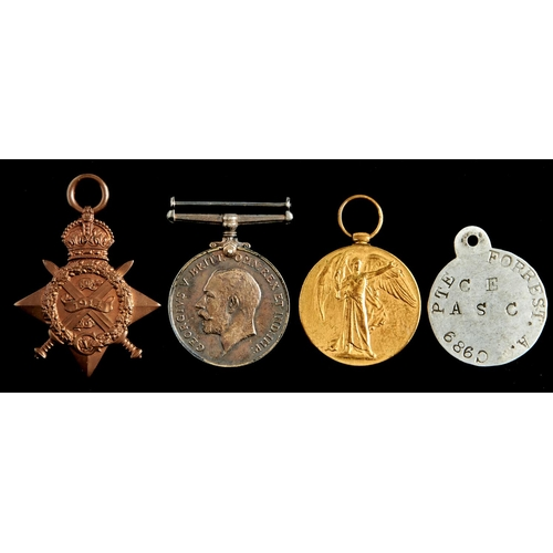 370 - World War I group of three, 1914 Star, British War Medal and Victory Medal CMT 989 PTE A Forrest ASC...
