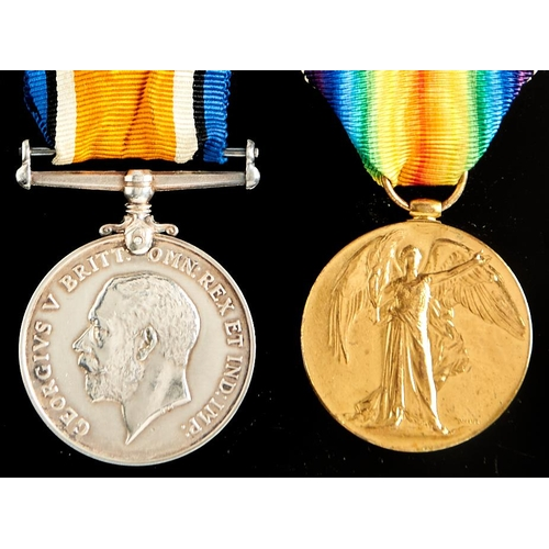 373 - World War I pair, British War Medal and Victory Medal 41162 2 AM H W Wright RFC and two fibre tags o...