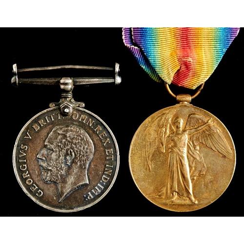 381 - World War I pair, British War Medal and Victory Medal 414 PTE F Perkin D of CORN LI