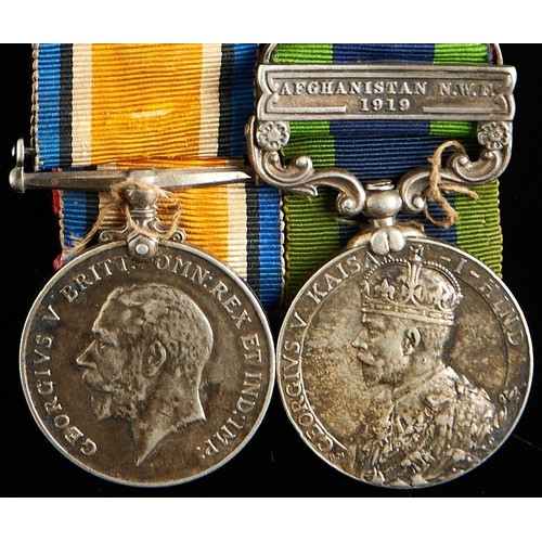 383 - World War I British War Medal and India General Service Medal, one clasp, Afghanistan NWF 1919, 9824...