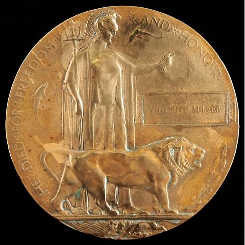 384 - A World War I memorial plaque,Pte Vincent Miller, Royal Warwickshire Regiment died 8 October 1917, ...