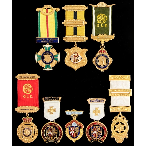 395 - Eight various masonic and RAOB jewels, base metal, including enamelled