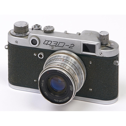 405 - A Soviet Russian green body FED-2 SLR 35mm camera, made in USSR, with FED 5cm F2.8 lens...