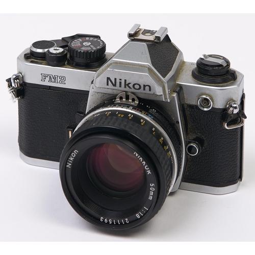 416 - A Nikon FM2 SLR 35mm camera, with Nikon Nikkor 50mm F1.8 lens