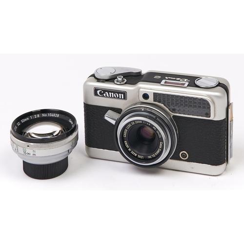 417 - A Canon Demi C half frame 35mm film camera, with Canon SD 28mm F2.8 lens, Canon SD 50mm F2.8 lens, w...