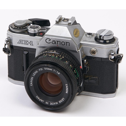 418 - A Canon AE-1 SLR 35mm camera, with Canon FD 50mm F1.8 lens