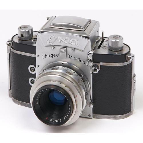 419 - An Ilhagee Exa V 35mm camera, c1959-60, with E Ludwig Meritar 50mm F2.9 V lens...