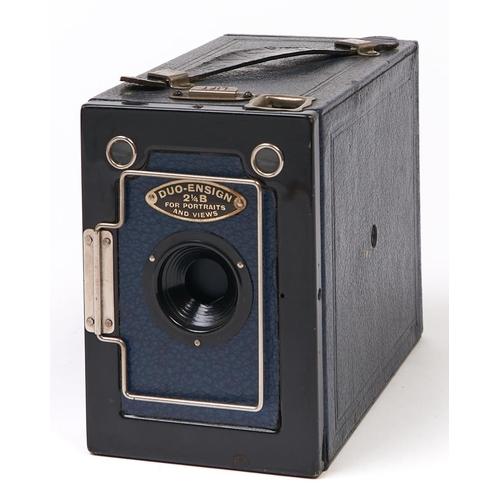 422 - A Houghton-Butcher blue Duo Ensign 2¼ sq. camera, c1915-26, with original box