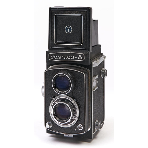 423 - A Yashica-A twin lens reflex camera, with Yashikor 80mm F3.5 lens, with original case...