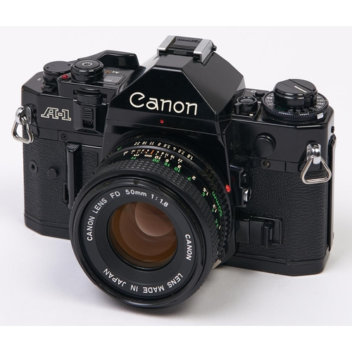 429 - A Canon A-1 SLR 35mm camera, with Canon FD 50mm F1.8 lens
