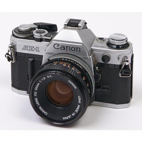 439 - A Canon AE-1 SLR 35mm camera, with Canon FD 50mm F1.8 S.C. Breech Lock lens