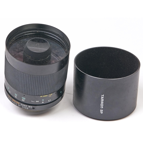 445 - A Tamron SP Tele Macro BBAR MC 500mm F8 mirror lens, Y/C Mount, with lens hood and case...