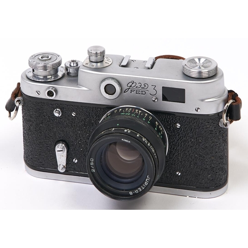 456 - A Soviet Russian FED 3 35mm camera, with Jupiter-8 50mm F2 lens, front lens cap and body cap...