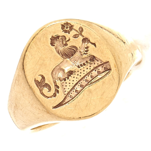 46 - A 9ct gold signet ring, 9.2g, size J