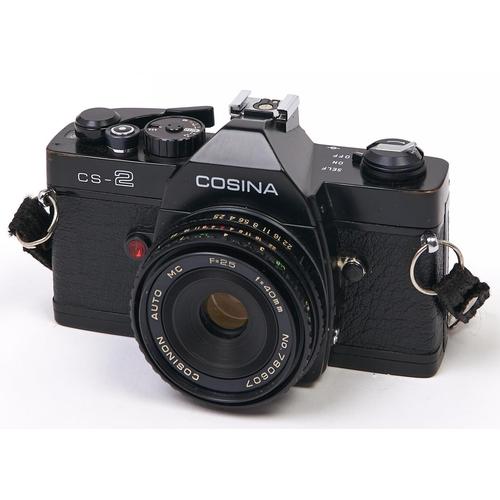461 - A Cosina CS-2 SLR 35mm camera, with Cosinon Auto MC 40mm F2.5 pancake lens and case